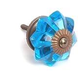 Tabla de pomo cristal azul zafiro armario pomo latón envejecido Base 40 mm x 10 unidades