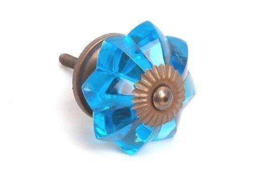 Vintage-Chic Poignée de porte en verre Bleu Saphir de bouton de placard avec Base en laiton Antique 40 mm Lot de 10