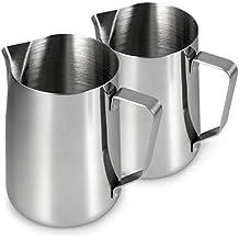 Jarra de leche de acero inoxidable para espumar leche en Juego de 2, (1L, espumador de leche, espuma de leche, Barista Jarra para hacer espuma, Cafe, color: plata brillante, marca youzings