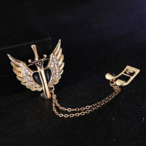 JTXZD Brosche Mode Heißer Überzogene Kreuz Pin Broschen Notizen Retro Schwert Angel Wings 's Anzug Brosche Flut Kette Abzeichen