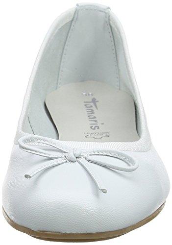 Tamaris 22165, Ballerine Donna Bianco (White Leather)