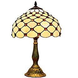 KCoob Tischlampe große europäische Art mit 3D Crystal Beading Regenschirm geformte Abdeckung gelb natürliches Licht für Schlafzimmer
