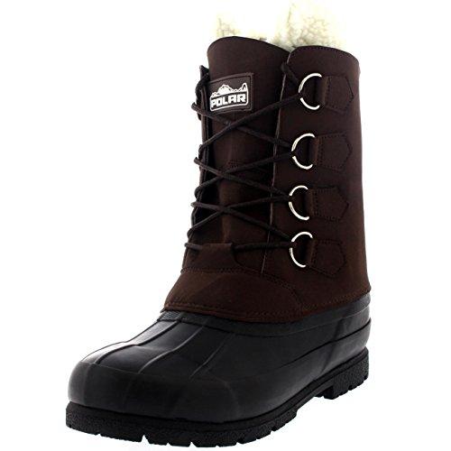 Polar Herren Wolle Gefüttert 100% Gummi Ente Sole IM Freien Kaltes Wetter Winter Schnee Stiefel - Braun - BRO43 AYC0145 (Winter-wetter-stiefel)