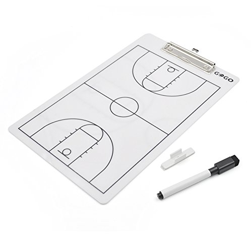 Gogo doppelseitig Coaching Board, easy-wiped radierbar Coach Klemmbrett, 35,6 x 22,9 cm Strategie Board Einheitsgröße Basketball (Coach-board Basketball)