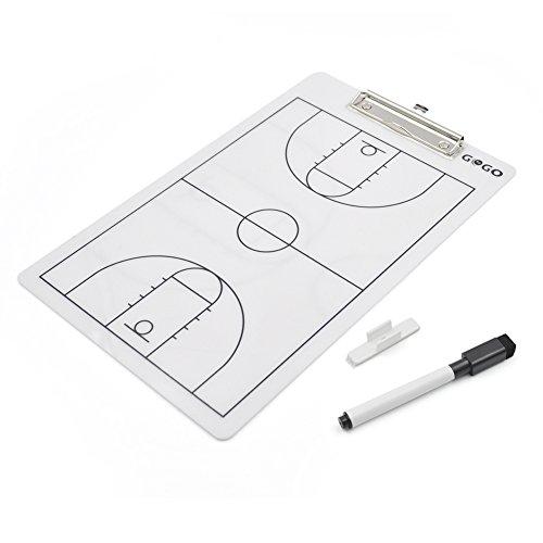 Gogo doppelseitig Coaching Board, easy-wiped radierbar Coach Klemmbrett, 35,6x 22,9cm Strategie Board Einheitsgröße Basketball (Coach-board Basketball)