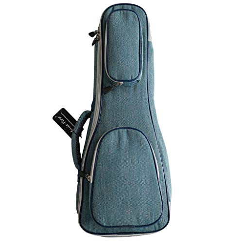 Music First - Custodia per ukulele, design originale, 15 mm di spessore, stile vintage, in puro cotone, jeans, denim, per ukulele Fit for 21 inch Soprano Ukulele denim