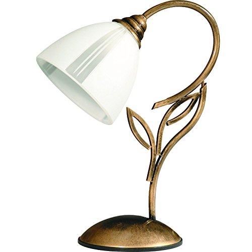 Tischlampe 30cm Glas Metall edel Lampe Jugendstil Messing Optik Tischleuchte Nachttischlampe -