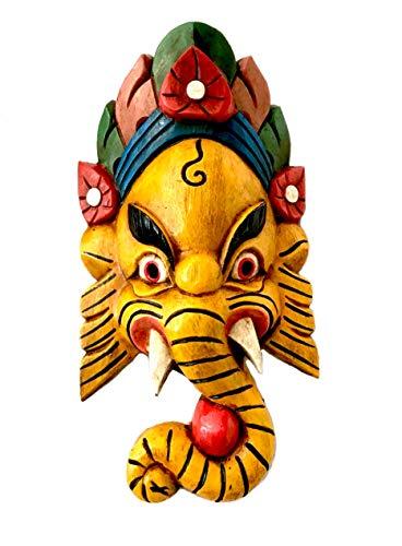 Ganesh Handarbeit Holzmaske aus Nepal 24x14 (Gelb)