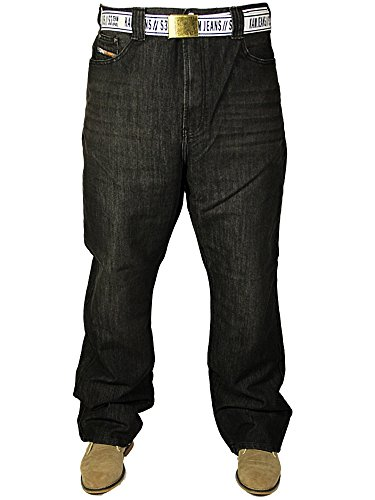 Kam Mens New Big King Size Carter Jeans Straight Leg in Black Used Free Belt Included