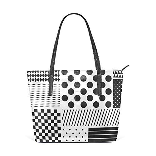 Mode Handtaschen Einkaufstasche Top Griff Umhängetaschen Monochrome Striped Lattice Black Large Printed Shoulder Bags Handbag Top Handle Satchel Purse Lightweight Work Tote Bag For Women Girls