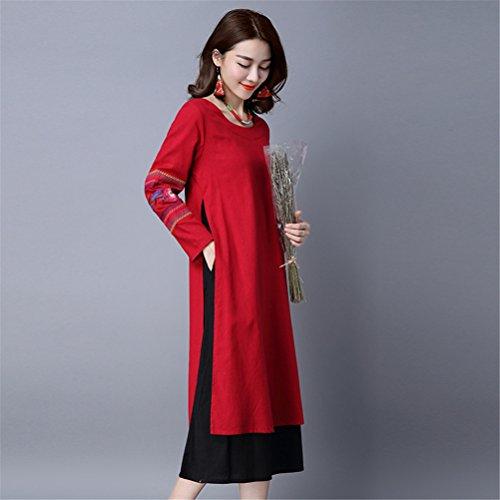 Womens Chinese Wind gestickte lange Ärmel gefälschte 2 Stück lose Baumwolle Leinen Kleid Rot