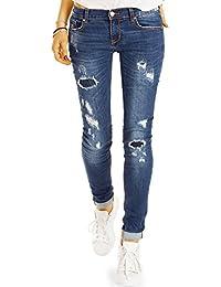 Bestyledberlin Damen Used Look Jeans, Skinny Fit Hüftjeans, Zerrissene Röhrenjeans j68f
