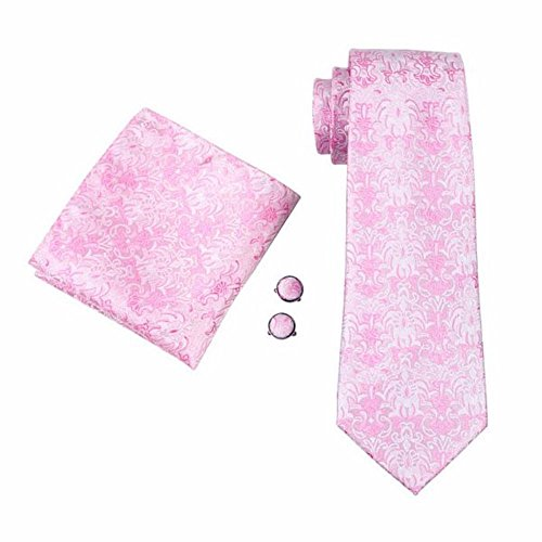 Tielicious Paisley Einfarbig Optik Seide Krawatte Set Binder Schlips Hochzeit Einstecktuch Manschettenknöpfe Krawattenset (Rosa (438))