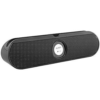 Aukey® Altoparlante Bluetooth portatile, Bluetooth Speaker wireless con 3,5mm Jack Audio e due altoparlanti, con Supporto per iPad, Tablet (Nero)