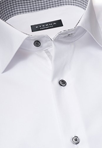 eterna Langarm Hemd Comfort Fit Chambray Unifarben Weiß