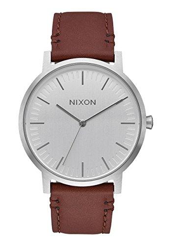 montre-nixon-porter-leather-silver-brown