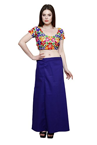 Pistaa Women's Cotton Royal Blue Colour Best Indian Solid Inskirt Saree petticoats