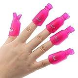 Ongle Art Tremper, Eouine Professionnel 10pcs le Capuchon Plastique Pince à Ongles en Gel UV Poudre Acrylique Nettoyage Outil pour les Ongles (Rose rouge)