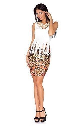 Futuro Fashion Damen Minikleid Exclusive Kollektion Pailletten China Aufdruck Party Körperform FC1119 Ecru