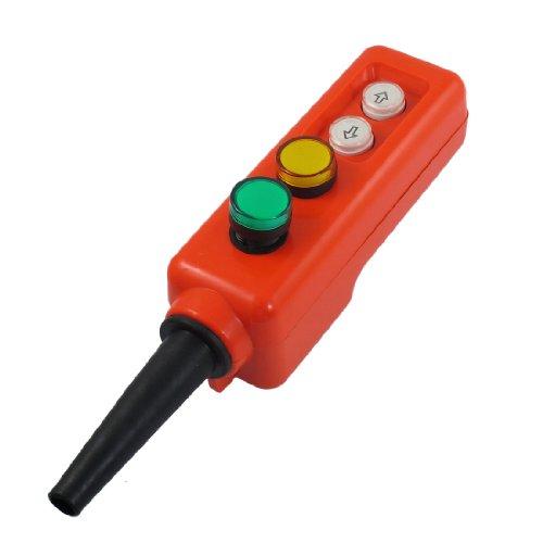 uxcell LED-Lampe oben Hoist Hand Bedienung Knopf Schalter, AC, 380V, grün/gelb (Oben Knopf)