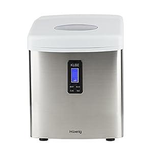 H.Koenig KB15 Eiswürfelmaschine circa 15 kg Eiswürfel pro Tag, 3 Eiswürfelgrößen wählbar,110 watt, silber
