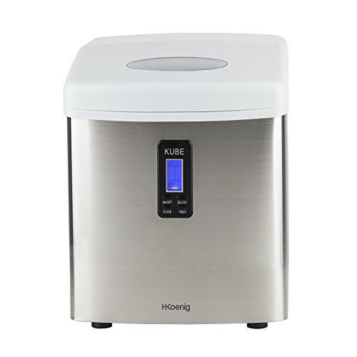 H.Koenig KB15 Eiswürfelmaschine / Eismaschine / 15kg Eiswürfel pro Tag / Produktionszeit 6 - 15 Minuten / 3 Eiswürfel-Größen / ohne Wasseranschluss / 110 W / Edelstahl / silber - Maker Kühlschränke Ice Mit