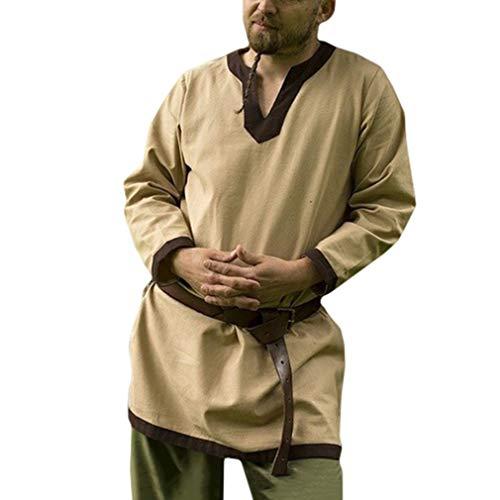 Herren Retro Gothic Tunika Mittelalter V-Ausschnitt Hemden Drucken Lose T-Shirts Große Größen Baumwolle Leinen T-Shirt für Halloween Cosplay