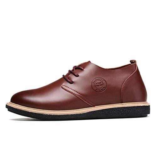 Chaussures élévatrices pour hommes à grande hauteur Chaussures décontractées en cuir véritable en cuir véritable Brun