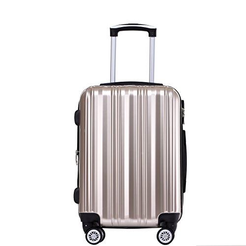Münicase- Hartschalen Koffer Reisekoffer Trolley Rollkoffer Polycarbonat TSA-Schloß Kofferset Gepäckset (Champagner, Großer Koffer (ca.76cm))