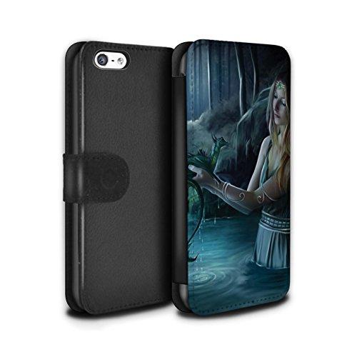 Officiel Elena Dudina Coque/Etui/Housse Cuir PU Case/Cover pour Apple iPhone 5C / Cameleon Design / Dragon Reptile Collection Eau/Bébé