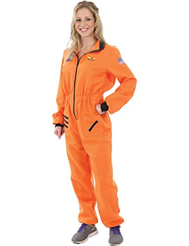 Erwachsener Damen Orange Astronauten Raumfahrer Space NASA Kostüm Medium (Orange Frauen Astronaut Kostüme)