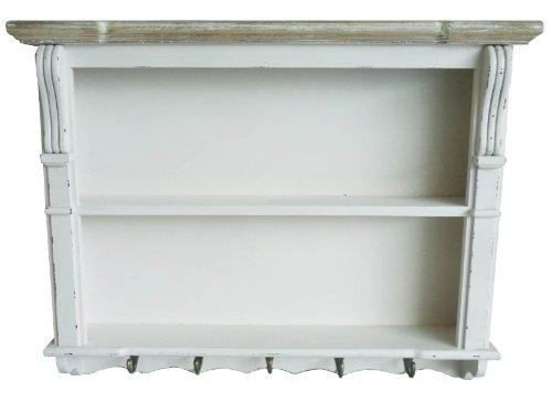 Charles Bentley Scaffale pensile shabby chic con appendini bianco - disponibili mobili in coordinato