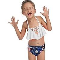 JLWF Traje De Baño Estampado con Volantes para Niños Cintura Alta Split Mujer Este Traje De Baño White-128CM