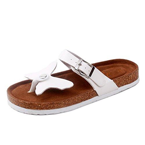 Damen Clip Toe Sandalen Strand Schuhe Pantoletten mit Korkfußbett Flip Flop Zehentrenner Offene Sandalen 37 2 xDNu3Mk