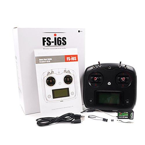 elegantamazing fly-sky fs-i6s 2.4 g 10 ch rc transmisor controlador w/6 ch fs-ia6b receptor o 10 ch fs-ia10b receptor negro fs-i6s+ia6b regalos de cumpleaños