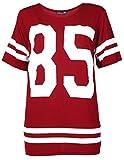 Crazy Girls Damen '85' Druck Kurzarm Baseball Trikot T-Shirt Top - 5 Farben- Größe 36-54