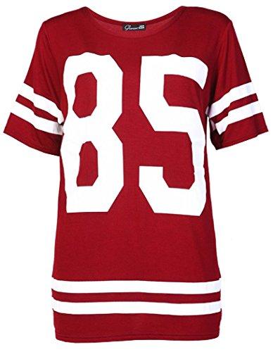 Girl Kostüm Baseball - Crazy Girls Damen '85' Druck Kurzarm Baseball Trikot T-Shirt Top - 5 Farben- Größe 36-54