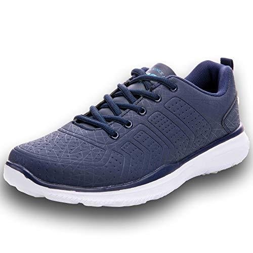 AX BOXING Mens Trainer Schuhe Multisport Mesh Laufen Walking Gym Schuh Sport Turnschuhe 46EU Blau Mesh-trainer