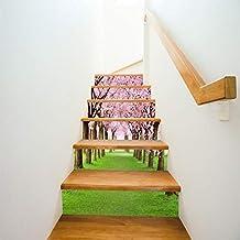 AnyuA Escaleras de la Calle del árbol de Cerezo Pegatina Arte Imagen decoración para ...