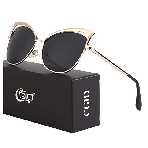 CGID Moderne Modische Spiegel Polarisierte Katzenauge Sonnenbrille Brille UV400,Gold Schwarz
