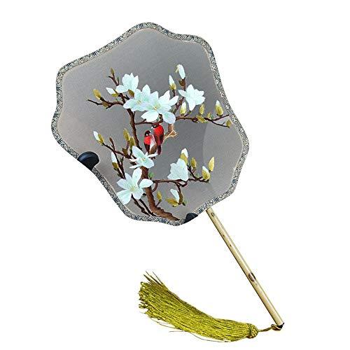 eifächer, Damenreisenandenken-Dekorations-Palastfächer Und Alter Fan des Tang-Kostüms (Farbe : Magnolia) ()