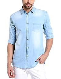 Dennis Lingo Men's Denim Light Blue Solid Casual Shirt