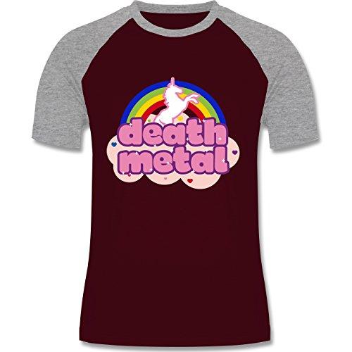 Shirtracer Einhörner - Death Metal Einhorn - Herren Baseball Shirt Burgundrot/Grau meliert