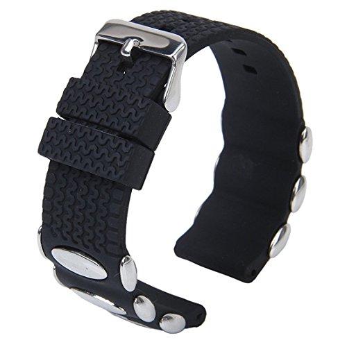 Silikon Gummi Uhrenarmbaender - TOOGOO(R) Punk Schwarz Silikonkautschuk Armband Band Metallbolzen einfuegen 24mm Wasserdicht (Schnalle Einfügen)