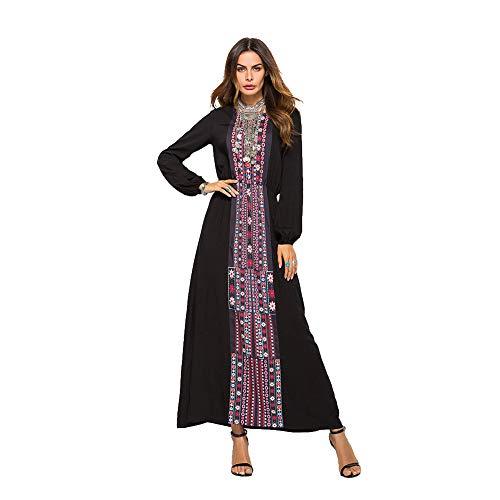 Kleider Damen Floral Print Langarm Maxikleider Kaftan Muslim Robes Jilbab Abaya Maxi Kleid Casual,Black,M -