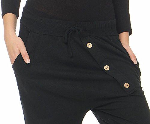 malito Damen Jogginghose mit Knopfleiste   Sporthose in Unifarben   Baggy zum Tanzen   Sweatpants �?Trainingshose 3302 Schwarz