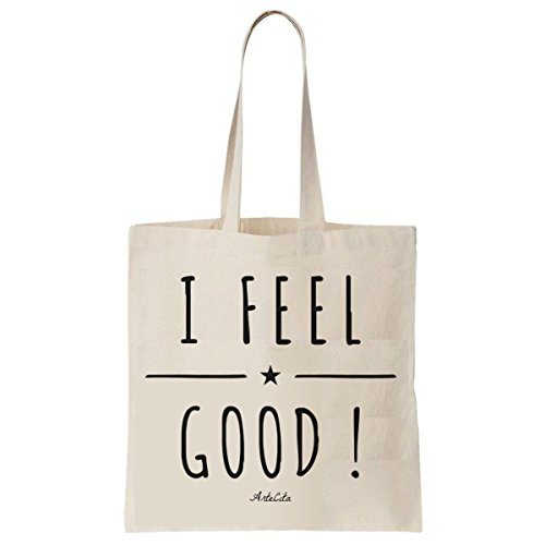 Tote Bag Imprimé Ecru - Toile en coton bio - I feel Good !