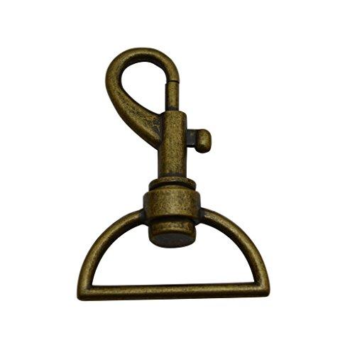Tianbang Bronze 3,2cm diametro interno anello a D moschettone artiglio girevole occhio foro per tracolla, (Bocca D-ring)