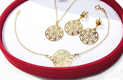 Ah! Jewellery GIFTBOXED Celebrity Layered Style Open Work Circle Necklace, Bracelet And Earring Set. 24k Gold Over Sterling Silver. Stamped 925. 10 Year Guarantee