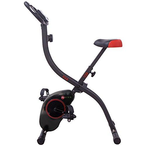 AsVIVA H14 Ergometer Heimtrainer X-Bike mit 7kg Schwungmasse, Magnetbremse, 8 Widerstandsstufen, inkl. Handpulssensoren, kompakt klappbar schwarz (Fahrrad Training)